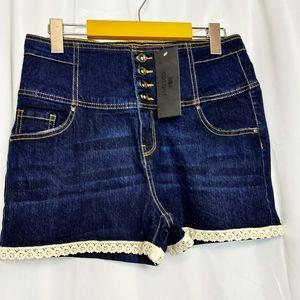 Cotone High Waisted Dark Wash Denim Shorts Size 8